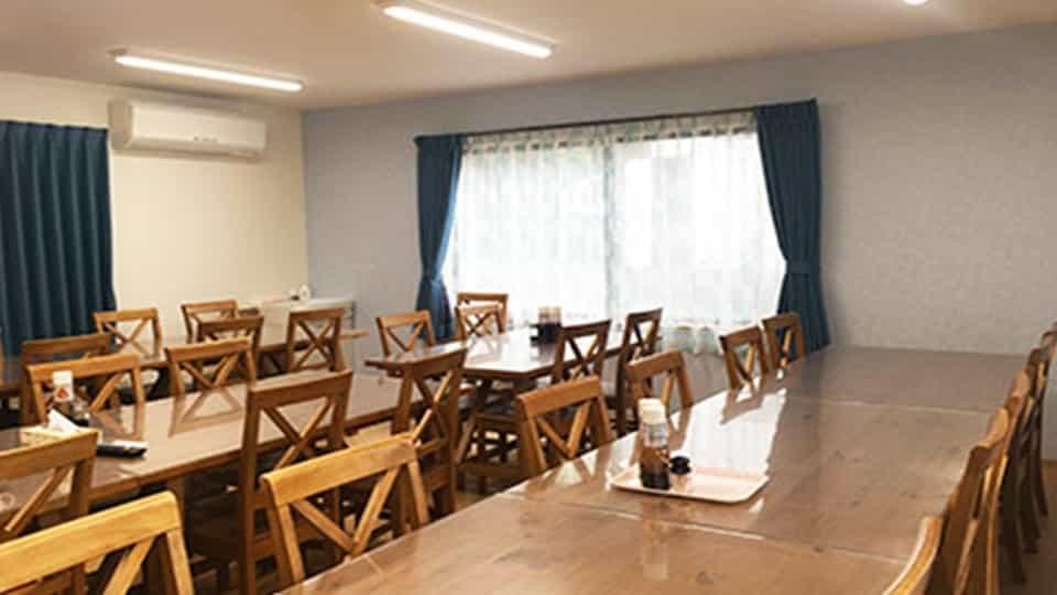 この宿泊施設の食堂です。