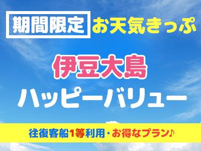往復往復客船1等席利用!お天気きっぷ☆ 伊豆大島ハッピーバリュー