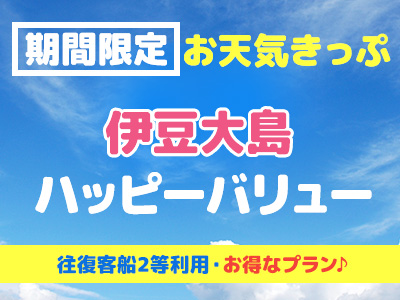 往復客船2等席利用!お天気きっぷ☆ 伊豆大島ハッピーバリュー