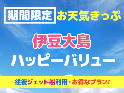 往復ジェット船!お天気きっぷ☆ 伊豆大島ハッピーバリュー