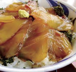 【伊豆大島】一峰 青唐辛子を漬けた醤油ベースの独特のタレに、メダイ等の白身魚の切り身を漬け込んでヅケにした島の郷土料理です。