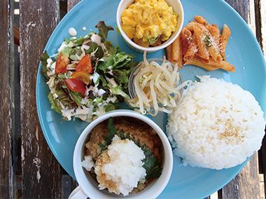 【新島】 POOL island cafe・market 新島で採れたお野菜を使用した週替わりのプレートランチを提供しています。メインから付け合わせ、ドレッシングに至るまで、全て手作りの味をお楽しみいただけます。