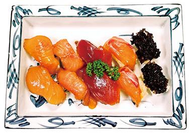 【八丈島】 宝亭 魚は醤油ベースのタレに漬け込み、ワサビの代わりにカラシを使用。ほんのり甘い酢飯で握った島寿司は絶妙な美味しさ。(要予約)