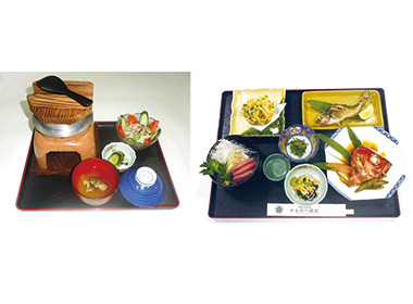 【三宅島】 御赦免料理 ヤマノベ旅館 熱々の「島の釜飯」と、数種類の明日葉料理、お刺身を楽しんでもらう会席膳。 明日葉は、庭で採れたものを使用し、根から柔らかい葉まで、きんぴら、おひたし、天ぷら等の料理で味わうことができます。